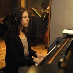 "Amanda at Inception Sound during ""On Course"" recording session."